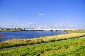 淀川(新淀川)に架かる長柄橋