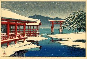 川瀬巴水画雪の宮島